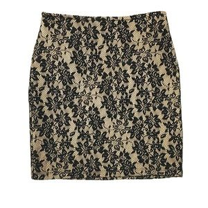 Black and cream Lace fitted skirt XS